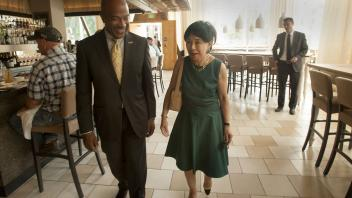 Chancellor Gary May meets with Congresswoman Doris Matsui at Ella's Restaurant for a lunch on August 3, 2017. Doris Matsui has long worked with UC Davis to improve her district and California.