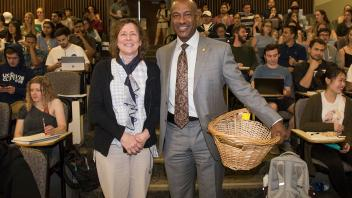 Chancellor May made a surprise visit to Professor Judy Callis' class to award her the UC Davis Prize for Undergraduate Teaching and Scholarly Achievement.