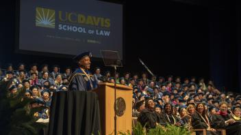 Chancellor May speaks during the UC Davis School of Law Commencement Ceremony in Jackson Hall at the Mondavi Center on Saturday, May 20, 2018.