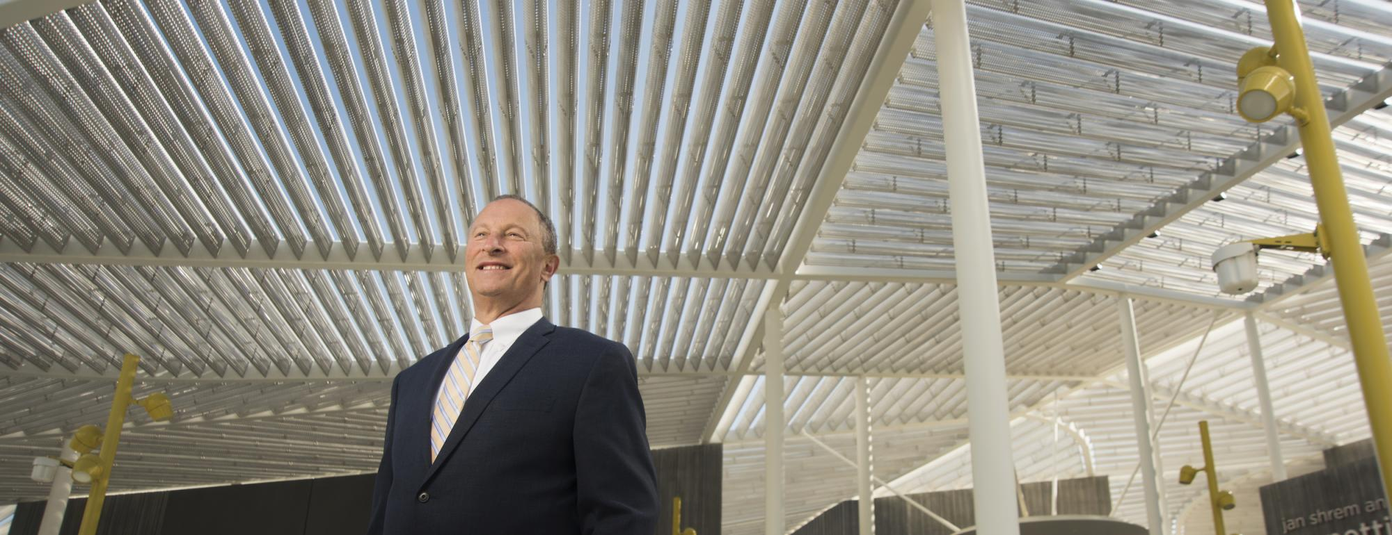 Provost Ralph J Hexter in front of Manetti Shrem Museum UC Davis