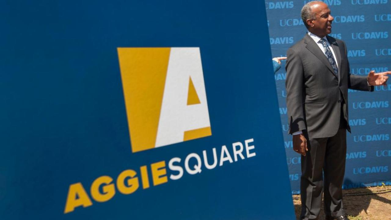 Chancellor Gary S. May at the Aggie Square announcement in April 2018