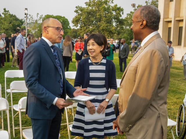 David Lubarsky, CEO of UC Davis Health and Vice Chancellor, Human Health Sciences, Chancellor Gary May and Representative Doris Matsui at the Aggie Square press conference